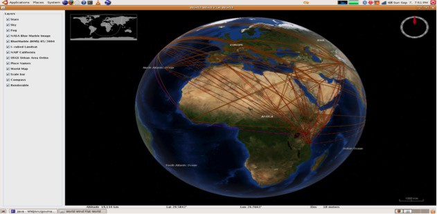 Geo-spatial network visualization produced by ORA